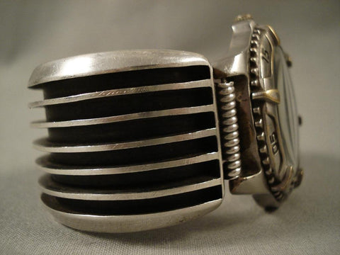 Huge Vintage Navajo Contemporary Native American Jewelry Silver Watch Bracelet-Nativo Arts