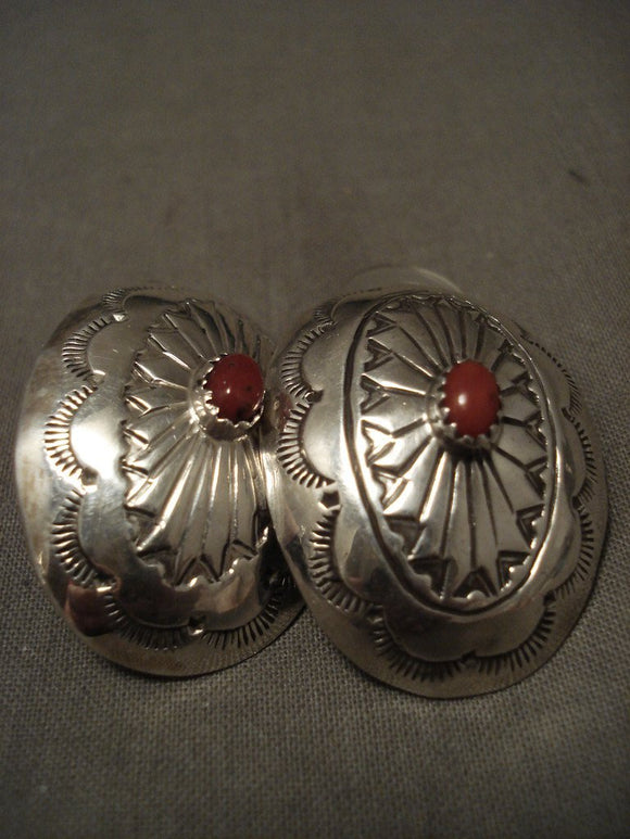 Huge Vintage Navajo Coral Native American Jewelry Silver Concho Earrings-Nativo Arts