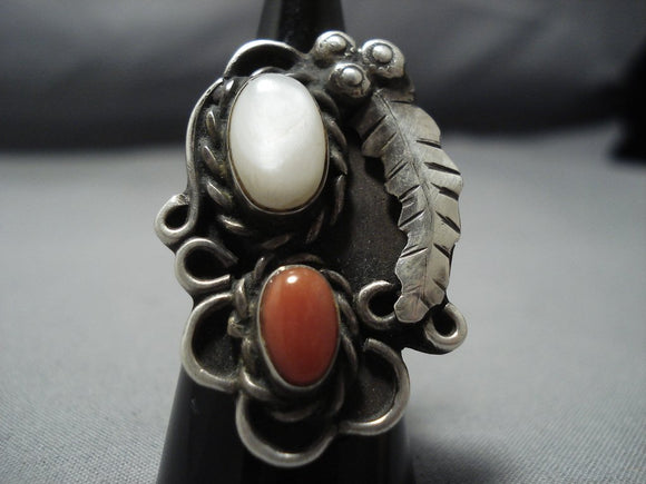 Huge!! Vintage Navajo Coral Sterling Silver Pearl Native American Jewelry Ring Old-Nativo Arts