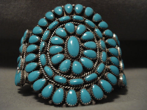 Huge Vintage Navajo 'Deep Blue Turquoise' Native American Jewelry Silver Bracelet Old-Nativo Arts