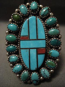 "HUGE VINTAGE NAVAJO """"DOMED AND INLAY TURQUOISE"""" CORAL SILVER RING-Nativo Arts"