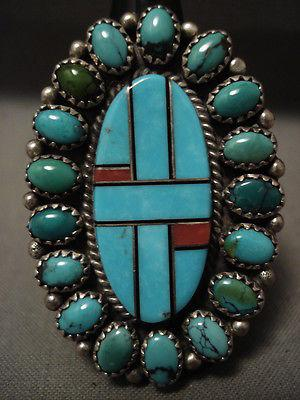 "HUGE VINTAGE NAVAJO """"DOMED AND INLAY TURQUOISE"""" CORAL SILVER RING"