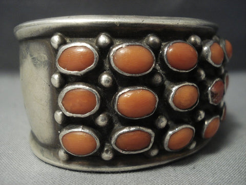 Huge Vintage Navajo Domed Coral Sterling Native American Jewelry Silver Bracelet Old Pawn-Nativo Arts