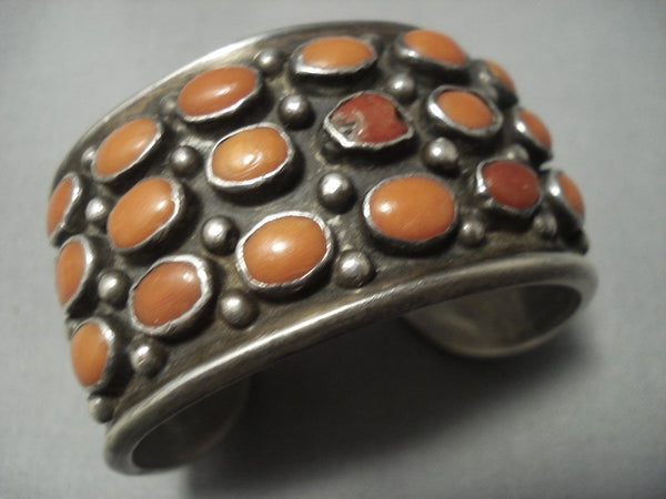 Huge Vintage Navajo Domed Coral Sterling Native American Jewelry Silver Bracelet Old Pawn