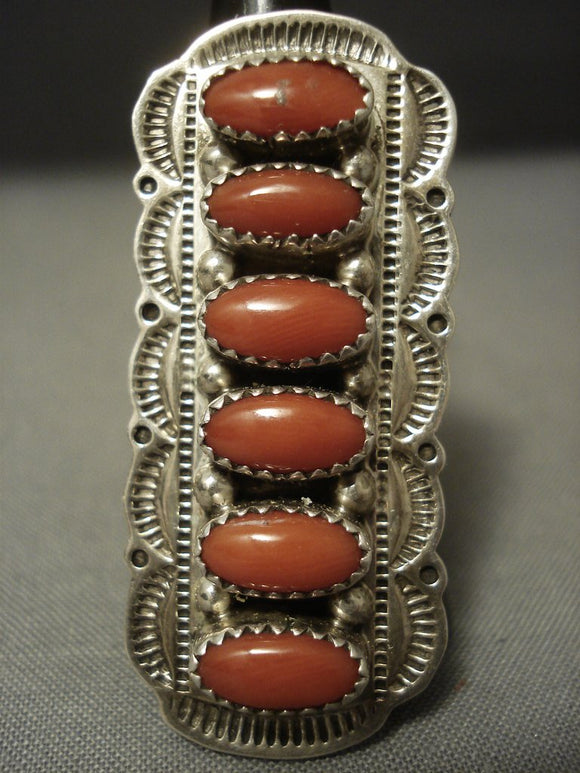Huge Vintage Navajo Domed Coral Sterling Native American Jewelry Silver Sun Ring-Nativo Arts