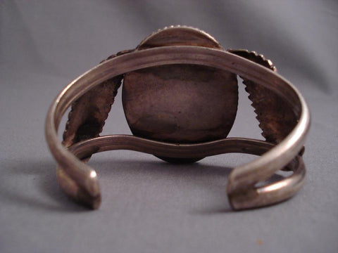 Huge Vintage Navajo Domed Petrified Wod Native American Jewelry Silver Bracelet-Nativo Arts