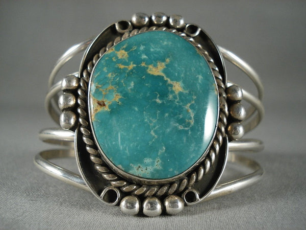 Huge Vintage Navajo 'Domed Turquoise' Native American Jewelry Silver Bracelet