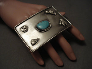 Huge Vintage Navajo 'Duel Finger' Turquoise Native American Jewelry Silver Ring Old-Nativo Arts