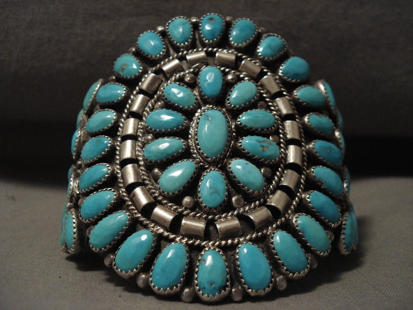 Huge Vintage Navajo 'Fat Turquoise' Native American Jewelry Silver Bracelet Cuff-Nativo Arts