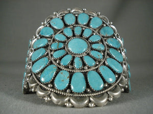 Huge Vintage Navajo 'Fat Turquoise' Wave Native American Jewelry Silver Bracelet Old-Nativo Arts