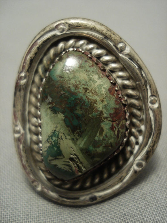 Huge Vintage Navajo Green Royston Turquoise Sterling Native American Jewelry Silver Ring Old-Nativo Arts