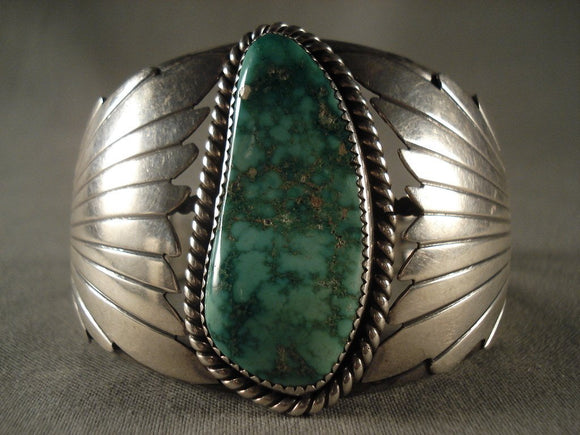 Huge Vintage Navajo Green Turquoise Native American Jewelry Silver Bracelet Old-Nativo Arts