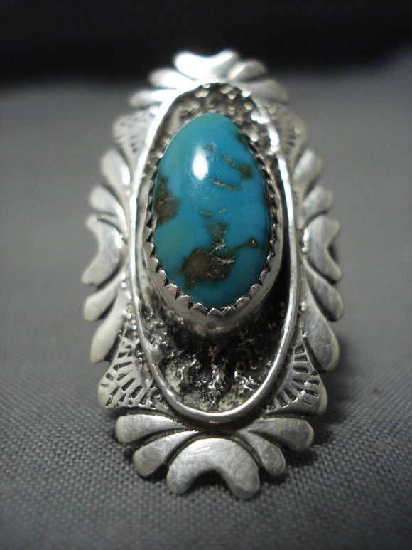 Huge Vintage Navajo Hasteen Turquoise Native American Jewelry Sterling Silver Ring Old-Nativo Arts