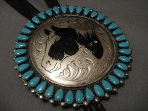 Huge Vintage Navajo Horse Turquoise Native American Jewelry Silver Bolo Tie-Nativo Arts