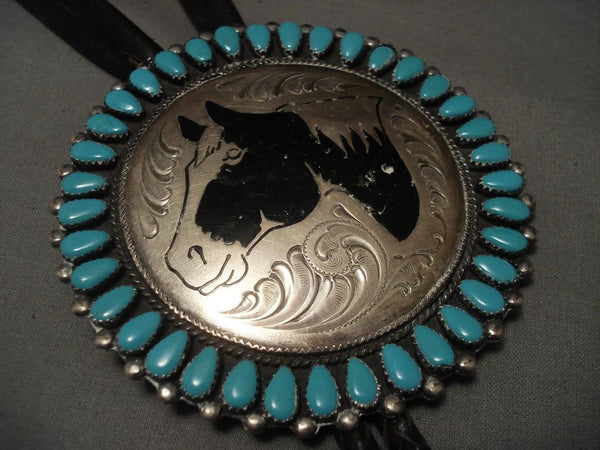 Huge Vintage Navajo Horse Turquoise Native American Jewelry Silver Bolo Tie