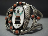 Huge Vintage Navajo Kachina Turquoise Sterling Silver Native American Jewelry Bracelet-Nativo Arts
