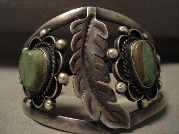 Huge Vintage Navajo Leaf And Green Turquoise Native American Jewelry Silver Bracelet Old-Nativo Arts
