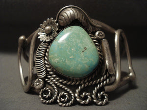 Huge Vintage Navajo 'Light Green Turquoise' Native American Jewelry Silver Bracelet-Nativo Arts