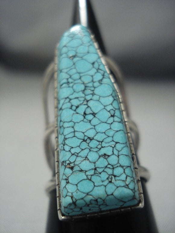 Huge Vintage Navajo Lone Mountain Turquoise Sterling Native American Jewelry Silver Ring Old-Nativo Arts