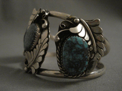 Huge Vintage Navajo Mid 1900's Turquoise Native American Jewelry Silver Bracelet-Nativo Arts