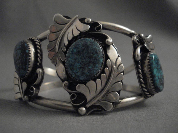 Huge Vintage Navajo Mid 1900's Turquoise Native American Jewelry Silver Bracelet