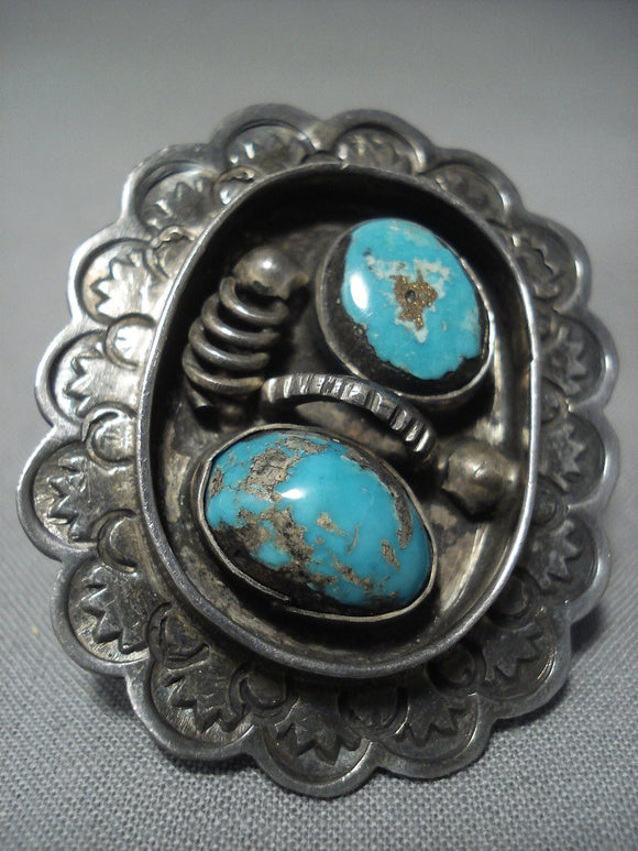 Huge Vintage Navajo Morenci Turquoise Sterling Native American Jewelry Silver Ring-Nativo Arts