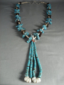 Huge Vintage Navajo Native American Jewelry jewelry 124 Grams Turquoise Nugget And Jacla Necklace Old-Nativo Arts