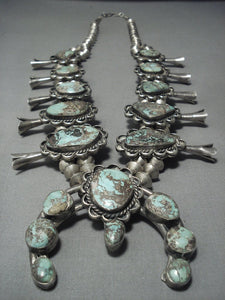 Huge!! Vintage Navajo Native American Jewelry jewelry Green Turquoise Sterling Silver Squash Blossom Necklace-Nativo Arts