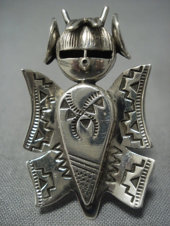 Huge!! Vintage Navajo Native American Jewelry jewelry Hand Cavred Sterling Silver Kachina Ring-Nativo Arts