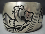 Huge Vintage Navajo Native American Jewelry jewelry Sterling Silver Dancing Mudhead Bracelet Old-Nativo Arts