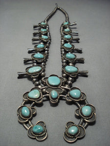 Huge!! Vintage Navajo Native American Jewelry jewelry Turquoise Sterling Silver Squash Blossom Necklace Old-Nativo Arts