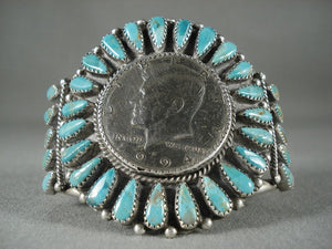 Huge Vintage Navajo Native American Jewelry Silver Coin Turquoise Bracelet-Nativo Arts