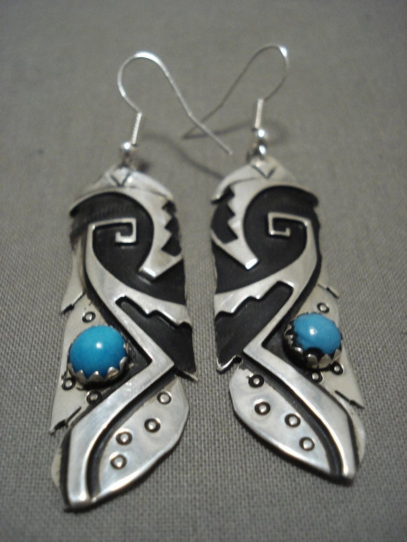 Huge Vintage Navajo 'Native American Jewelry Silver Mask Snake Eyes Turquoise' Native American Jewelry Silver Earrings-Nativo Arts