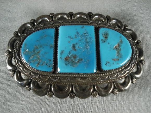 Huge Vintage Navajo Natural Turquoise Native American Jewelry Silver Buckle Old-Nativo Arts