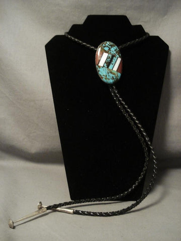 Huge Vintage Navajo Number 8 Turquoise Native American Jewelry Silver Bolo Tie-Nativo Arts