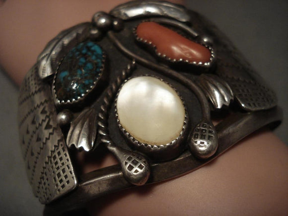 Huge Vintage Navajo Old Bisbee Turquoise Native American Jewelry Silver Bracelet-Nativo Arts