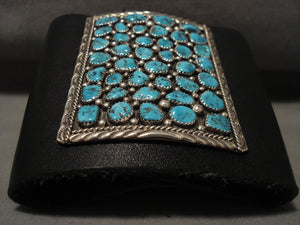 Huge Vintage Navajo Old Kingman Turquoise Native American Jewelry Silver Ketoh Bracelet Old-Nativo Arts