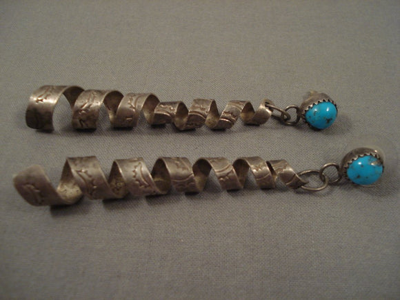Huge Vintage Navajo Old Kingman Turquoise Sterling Native American Jewelry Silver Earrings-Nativo Arts