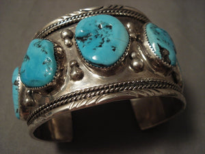 Huge Vintage Navajo Old Kinmgan Turquoise Native American Jewelry Silver Bracelet-Nativo Arts