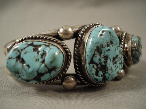 Huge Vintage Navajo Old Sleeping Beauty Turquoise Native American Jewelry Silver Bracelet-Nativo Arts