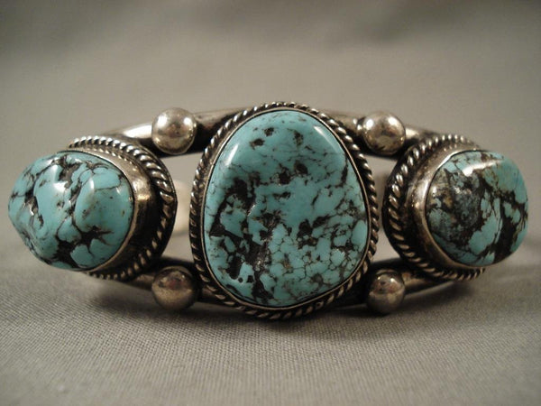 Huge Vintage Navajo Old Sleeping Beauty Turquoise Native American Jewelry Silver Bracelet