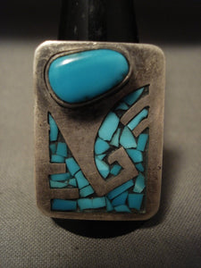 Huge Vintage Navajo Old Sleeping Beauty Turquoise Native American Jewelry Silver Inlay Ring-Nativo Arts