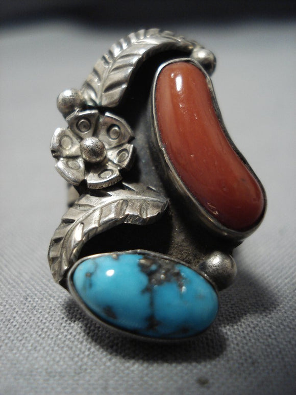 Huge Vintage Navajo Persin Turquoise Coral Sterling Silver Native American Jewelry Ring-Nativo Arts