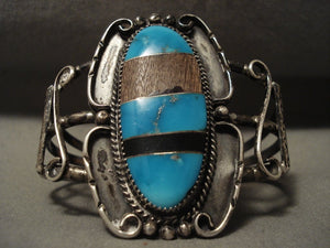 Huge Vintage Navajo 'Persin & Wood' Sterling Native American Jewelry Silver Turquoise Bracelet-Nativo Arts