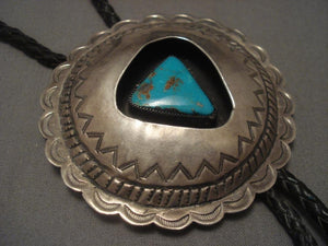 Huge Vintage Navajo Pilot Mountain Turquoise Native American Jewelry Silver Bolo Tie-Nativo Arts