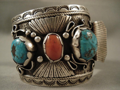 Huge Vintage Navajo Pilot Mountain Turquoise Native American Jewelry Silver Watch Bracelet-Nativo Arts