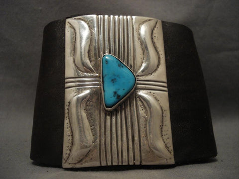 Huge Vintage Navajo Repoussed Native American Jewelry Silver Turquoise Ketoh Bracelet-Nativo Arts