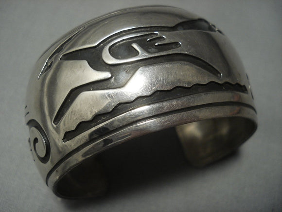 Huge Vintage Navajo Roadrunner Sterling Native American Jewelry Silver Bracelet Old-Nativo Arts