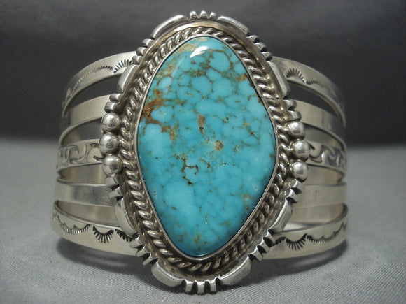 Huge Vintage Navajo Royston Turquoise Sterling Native American Jewelry Silver Bracelet-Nativo Arts