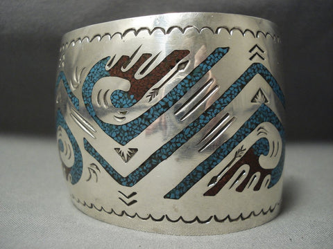 Huge Vintage Navajo Singer Family Turquoise Sterling Native American Jewelry Silver Bracelet Old-Nativo Arts